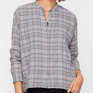 Eileen Fisher Plaid Mandarin Collar Gray Size XL